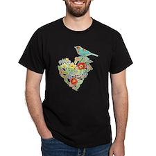 Ranunculus Daisy Rose Flower Heart Bi T-Shirt