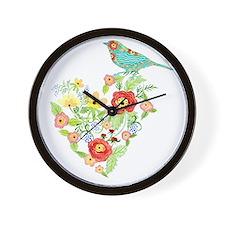 Ranunculus Daisy Rose Flower Heart Bird Wall Clock