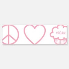 PeaceLoveVeganCupcakes_PINK Sticker (Bumper)