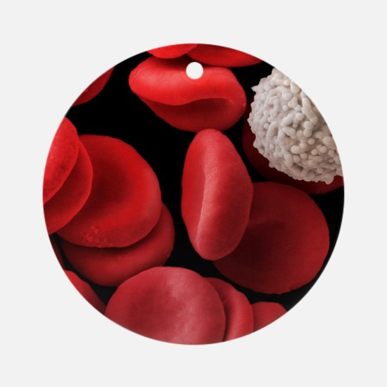 Red and white blood cells, SEM Round Ornament