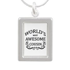 World's Most Awesome Cousin Silver Portrait Neckla