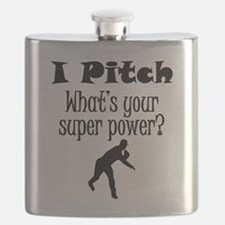 I Pitch (Baseball) What's Your Super Power? Flask