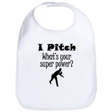 I Pitch (Baseball) What's Your Super Power? Bib