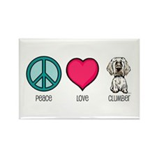 Peace Love & Clumbers Rectangle Magnet