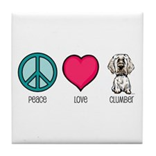 Peace Love & Clumbers Tile Coaster