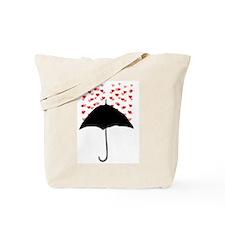 Cute Umbrella with Hearts Tote Bag