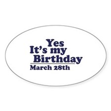 March 28 Birthday Oval Decal