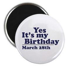 March 28 Birthday Magnet