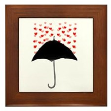 Cute Umbrella with Hearts Framed Tile