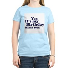 March 28 Birthday Women's Pink T-Shirt