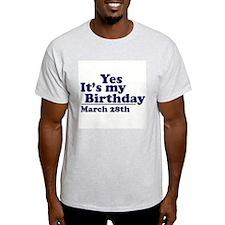 March 28 Birthday Ash Grey T-Shirt