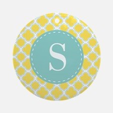 Quatrefoil Pattern Yellow and White with Monogram