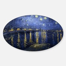 Van Gogh Starry Night Over The Rhon Sticker (Oval)