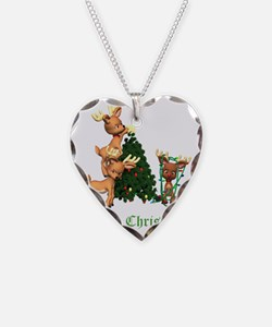 DEER CHRISTMAS GREEN copy Necklace Heart Charm