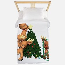 DEER CHRISTMAS GREEN copy Twin Duvet