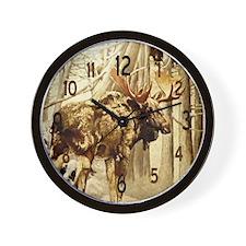 Vintage Woodlands Moose Wall Clock