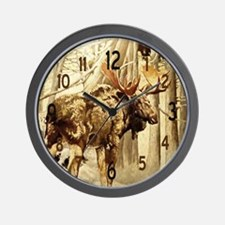 Vintage Woodlands Moose Wall Clock