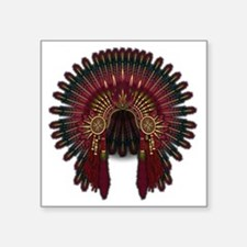 "Native War Bonnet 06 Square Sticker 3"" x 3"""