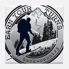earn your turns black Tile Coaster