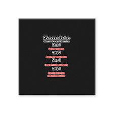 """Zombie survival rules Zombi Square Sticker 3"""" x 3"""""""