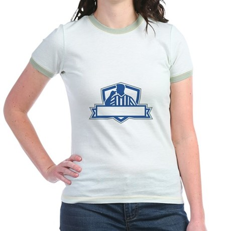 Referee Umpire Official Hold Whistle Crest Retro T