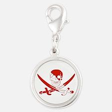 Pirate Skull Silver Round Charm