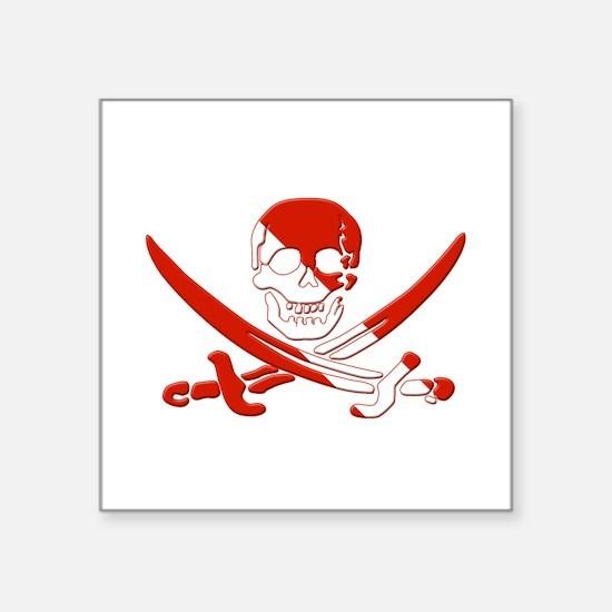 "Pirate Skull Square Sticker 3"" x 3"""