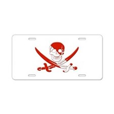Pirate Skull Aluminum License Plate