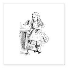 """Alice & Drink Me Bottle Square Car Magnet 3"""" x 3"""""""