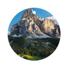 Peak in Dolomites called Sassongher Round Ornament