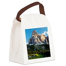 Peak in Dolomites called Sassongh Canvas Lunch Bag