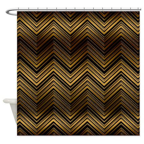Dark Gold Chevron Pattern Shower Curtain By CierrasPatternDecorandGifts