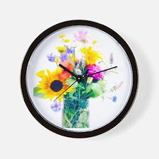 Vase of summer flowers Wall Clock
