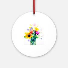 Vase of summer flowers Round Ornament