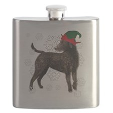 Curly Coated Retriever with elf hat Flask