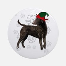 Curly Coated Retriever with elf hat Ornament (Roun