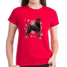 Curly Coated Retriever with elf hat Tee