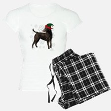 Curly Coated Retriever with elf hat Pajamas