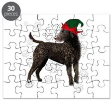 Curly Coated Retriever with elf hat Puzzle