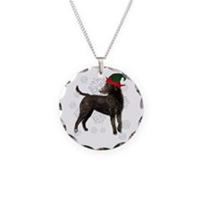 Curly Coated Retriever with elf hat Necklace