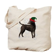 Curly Coated Retriever with elf hat Tote Bag