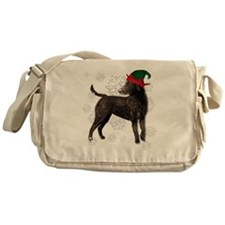 Curly Coated Retriever with elf hat Messenger Bag