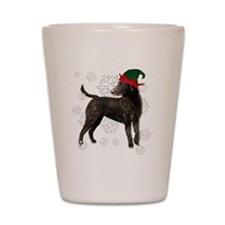 Curly Coated Retriever with elf hat Shot Glass