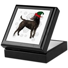 Curly Coated Retriever with elf hat Keepsake Box