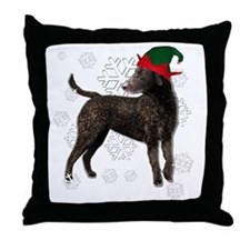 Curly Coated Retriever with elf hat Throw Pillow