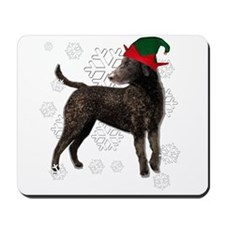 Curly Coated Retriever with elf hat Mousepad