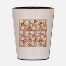 Retro Daisies Brown Polka Dots Shot Glass
