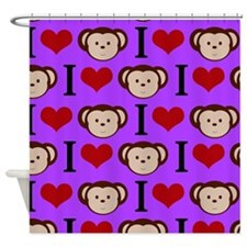 I Heart Monkeys (Purple) Shower Curtain