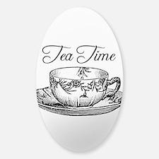Tea Time Tea Cup Sticker (Oval)