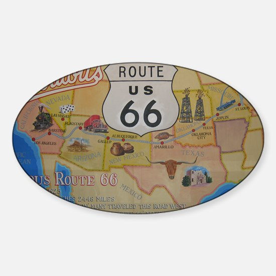 Route 66 Map Sticker (Oval)